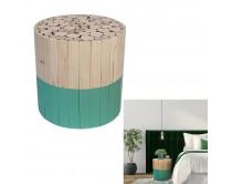 tabouret-bicolore-rond-bois-brut-et-vert-m2