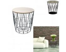 table-filaire-plateau-bois-motif-zigzag-m6